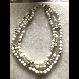 Vintage White Glass Crystal Knotted Multi Necklace